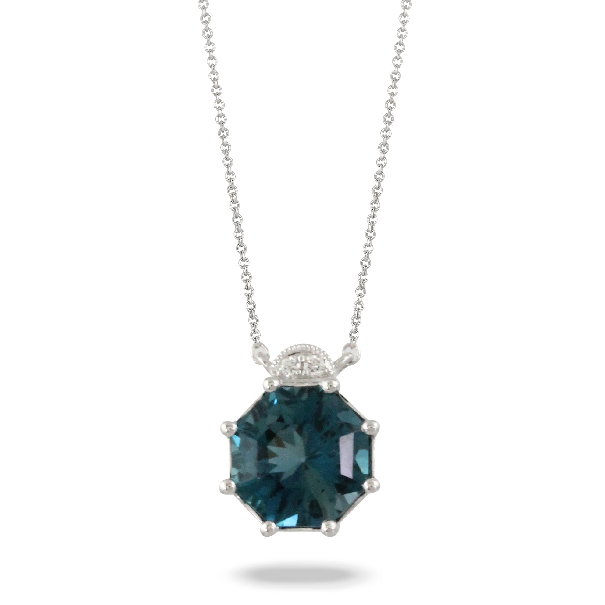London Blue Topaz and Diamond Octagonal Necklace by Doves - Talisman Collection Fine Jewelers