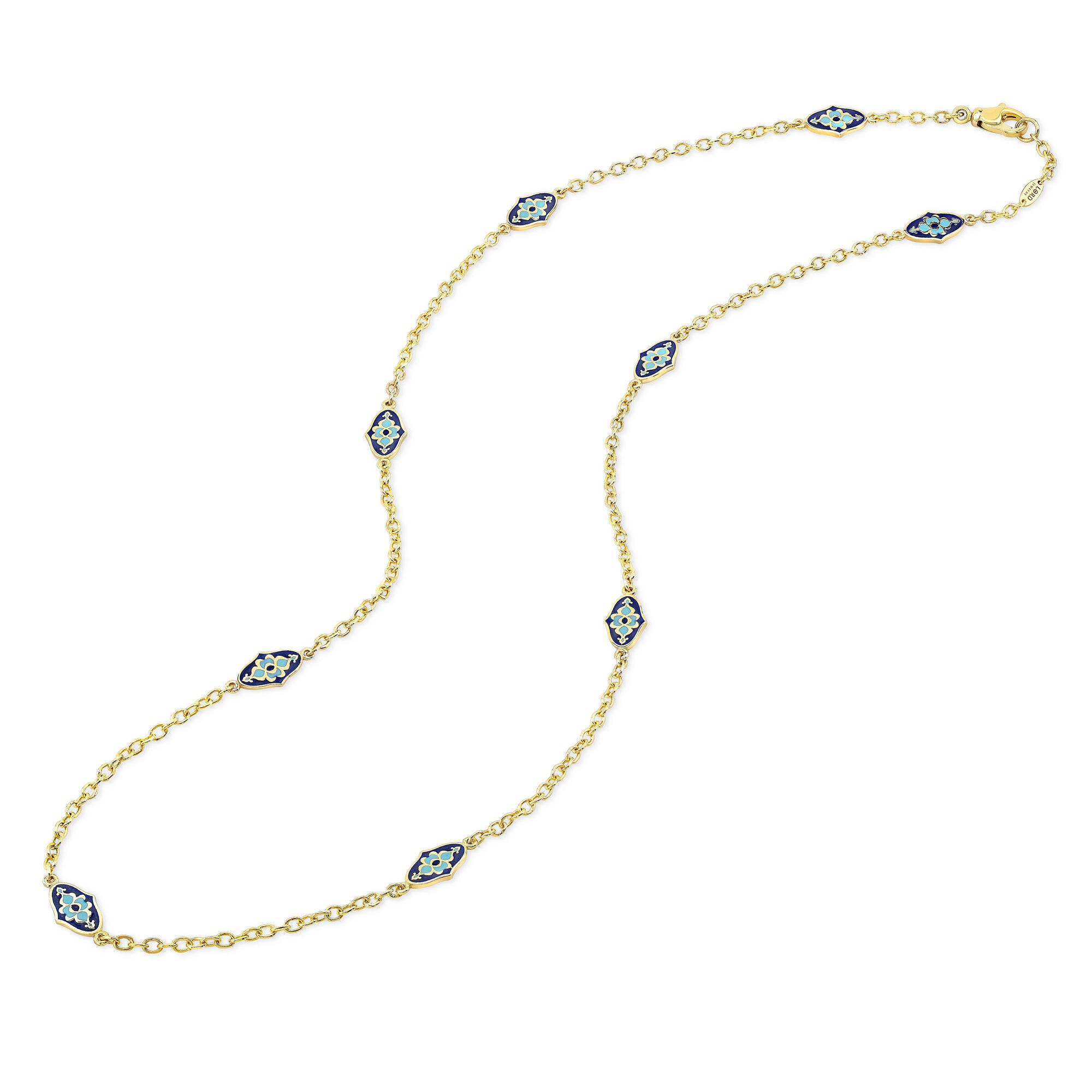 18k Yellow Gold Mosaic Enamel Station Necklace by Lord Jewelry - Talisman Collection Fine Jewelers