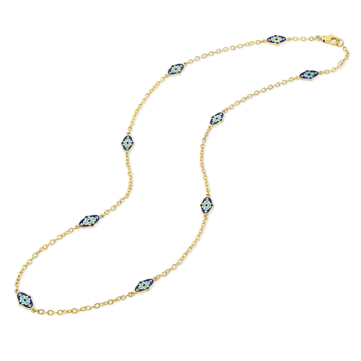 18k Yellow Gold Mosaic Enamel Station Necklace by Lord Jewelry - Talisman Collection