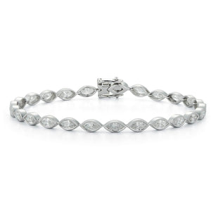 18k White Gold Milgrain Detail Marquise Diamond Tennis Bracelet - Talisman Collection