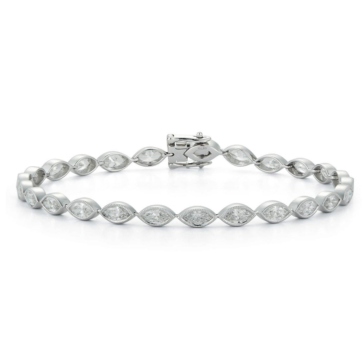 Milgrain Detail Bezel-Set Marquise Diamond Tennis Bracelet - Talisman Collection Fine Jewelers