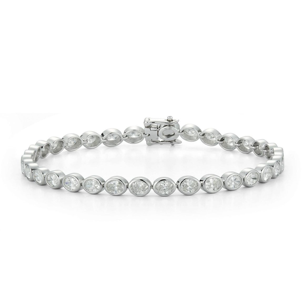 Bezel-Set Oval Diamond Tennis Bracelet - Talisman Collection Fine Jewelers