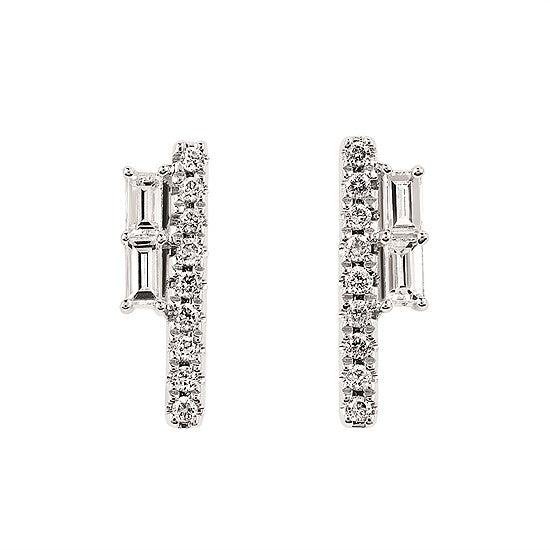 Baguette and Round Diamond Vertical Bar Earrings in White, Yellow or Rose Gold - Talisman Collection Fine Jewelers