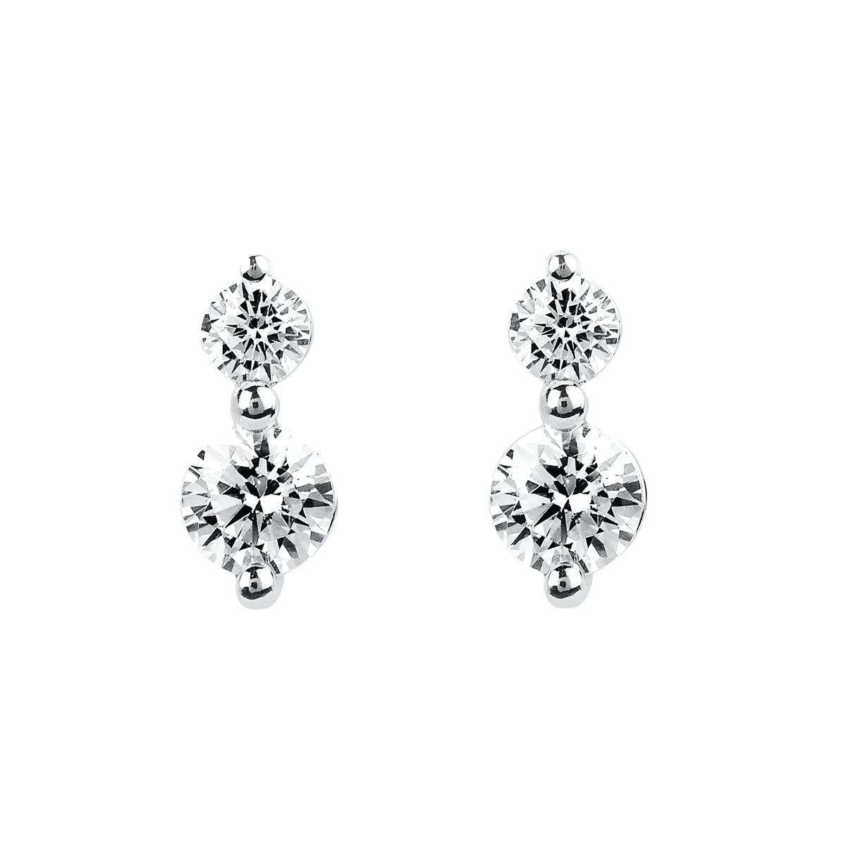 Two Diamond Drop Earrings in White, Yellow or Rose Gold - Talisman Collection Fine Jewelers