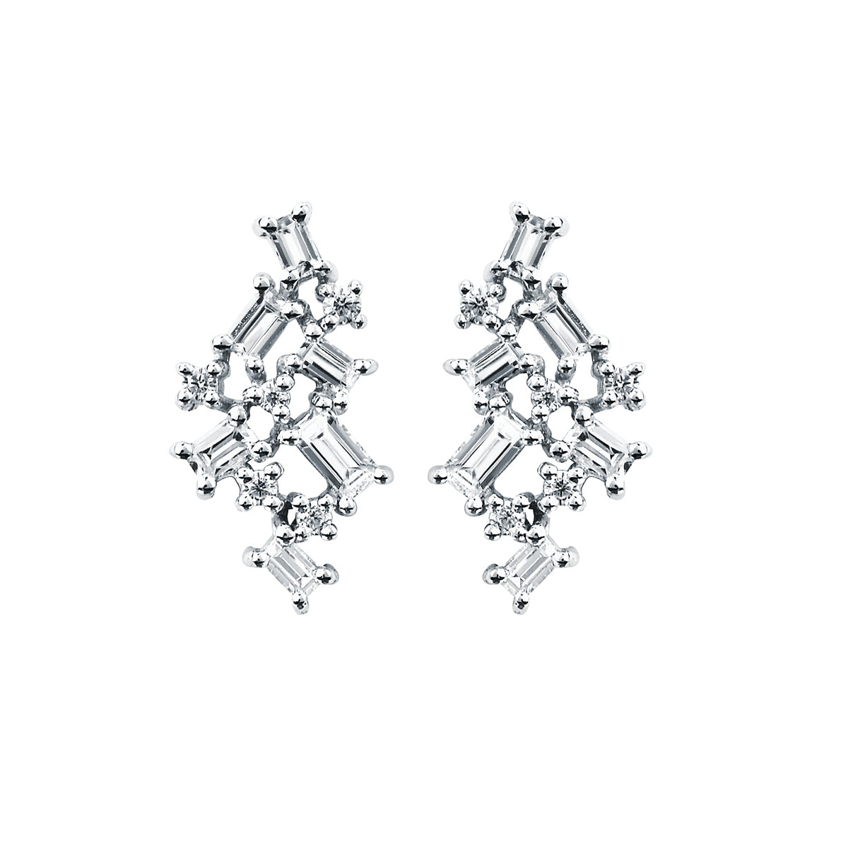 Diamond Baguette Cluster Stud Earrings in White, Yellow or Rose Gold - Talisman Collection Fine Jewelers
