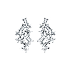 talisman collection fine jewelers 14k gold diamond baguette stud cluster earrings