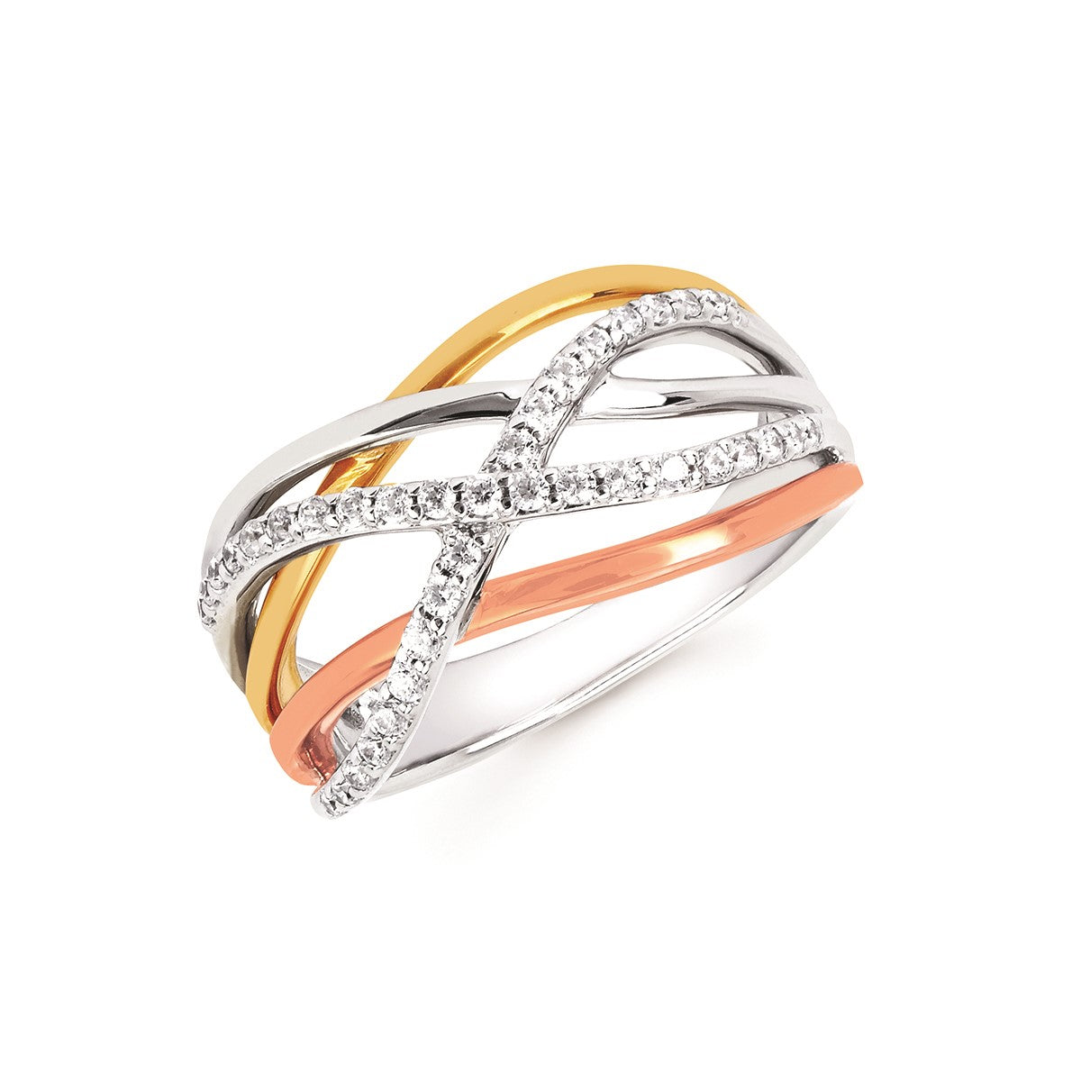 Diamond Tri-Color Gold Interlace Band