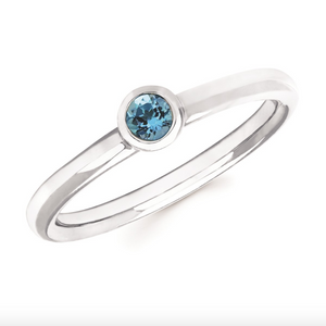 Blue Topaz Bezel Set December Birthstone Ring - Talisman Collection Fine Jewelers