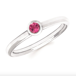 Pink Tourmaline Bezel Set October Birthstone Ring - Talisman Collection Fine Jewelers