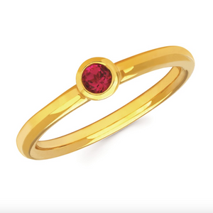 Ruby Bezel Set July Birthstone Ring - Talisman Collection Fine Jewelers