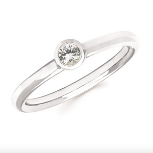 White Sapphire Bezel Set April Birthstone Ring - Talisman Collection Fine Jewelers