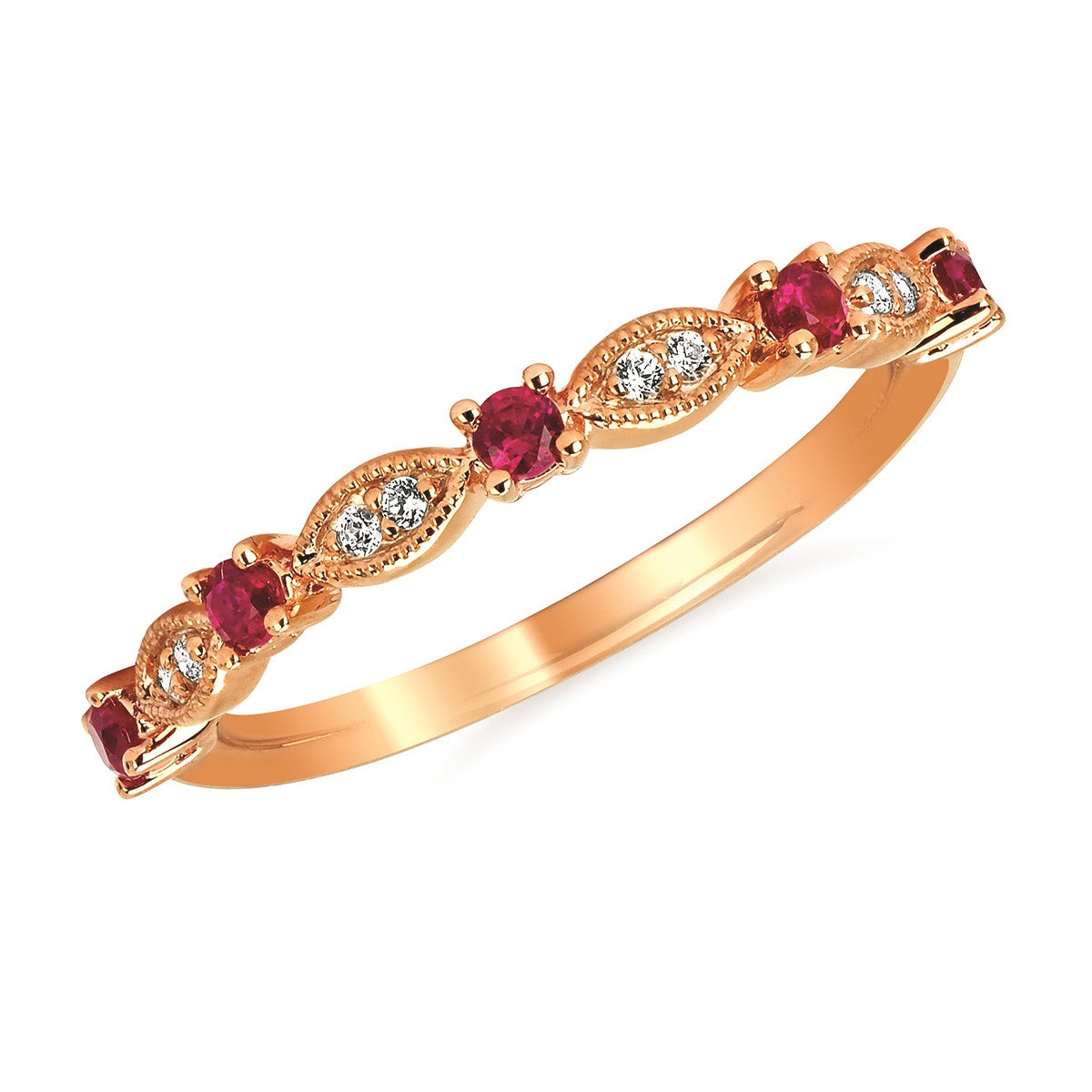Ruby and Diamond Stack Band in 14k Rose Gold