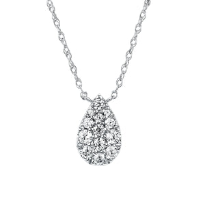Diamond Pear-Shaped Necklace in White, Yellow or Rose Gold - Talisman Collection Fine Jewelers
