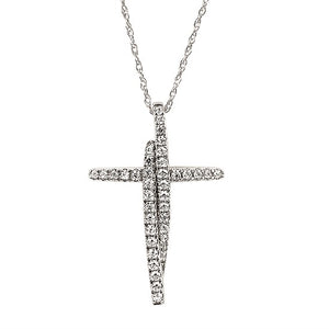 Diamond Cross Necklace in White, Yellow or Rose Gold - Talisman Collection Fine Jewelers