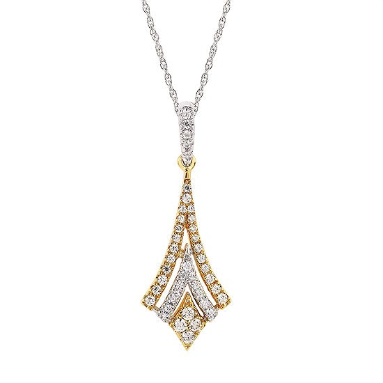Diamond Kite Necklace in White and Yellow Gold - Talisman Collection Fine Jewelers
