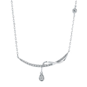Diamond Twisted Bar Necklace with Pear Diamond Drop - White Gold - Talisman Collection Fine Jewelers