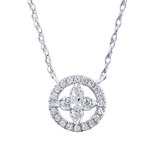 Diamond Floral Cut-Out Necklace - White Gold - Talisman Collection Fine Jewelers