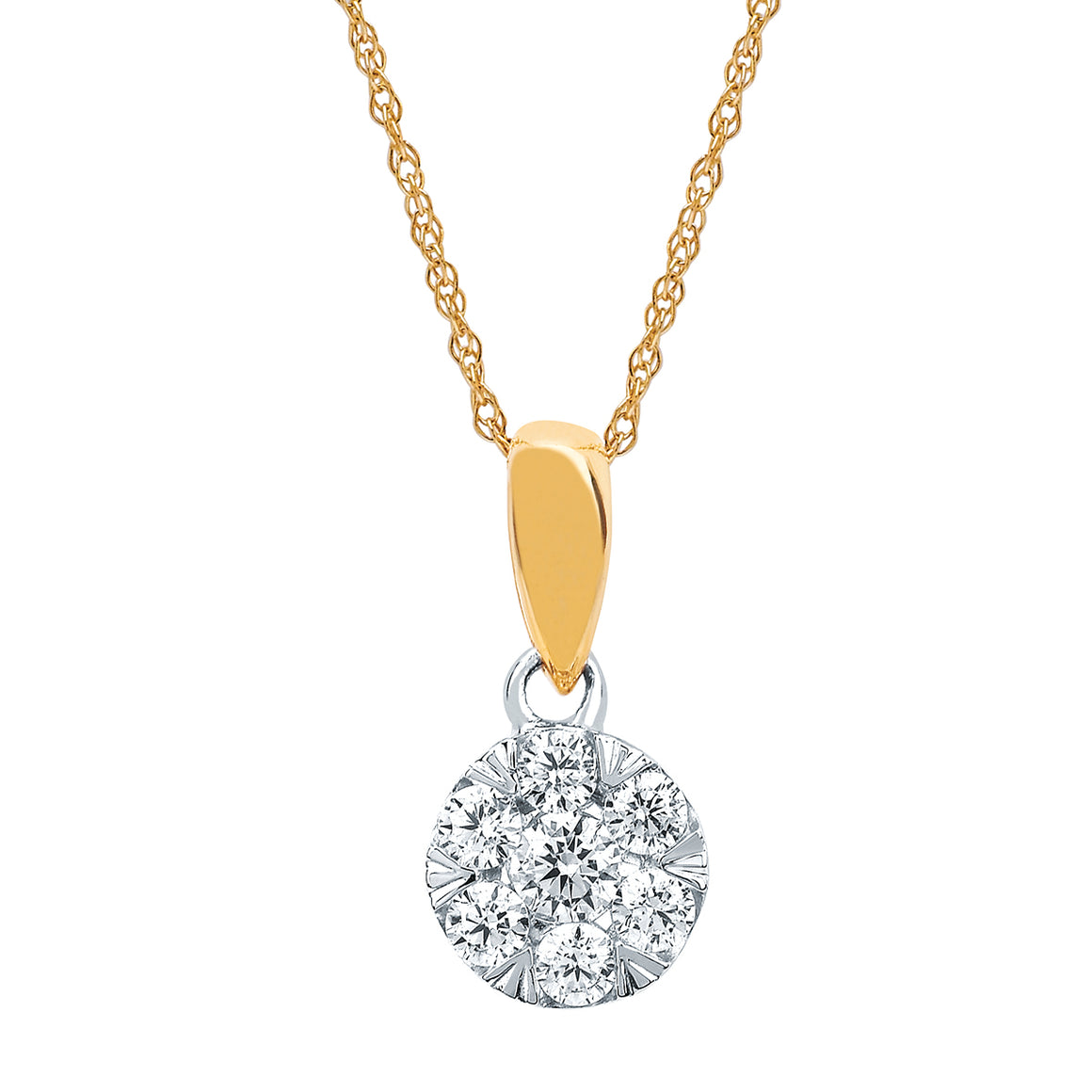 Diamond Cluster Necklace Two-Tone White and Yellow Gold - Talisman Collection Fine Jewelers
