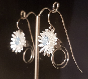 Blue Marigold Earrings by Andrew O'Dell - Talisman Collection Fine Jewelers
