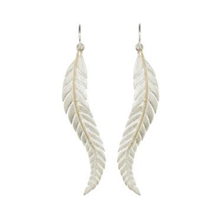Sterling Silver and 9k Yellow Gold Fern Earrings by Andrew O'Dell - Talisman Collection Fine Jewelers