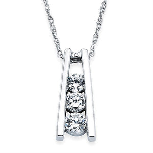 14k White Gold Diamond Ladder Necklace - Talisman Collection