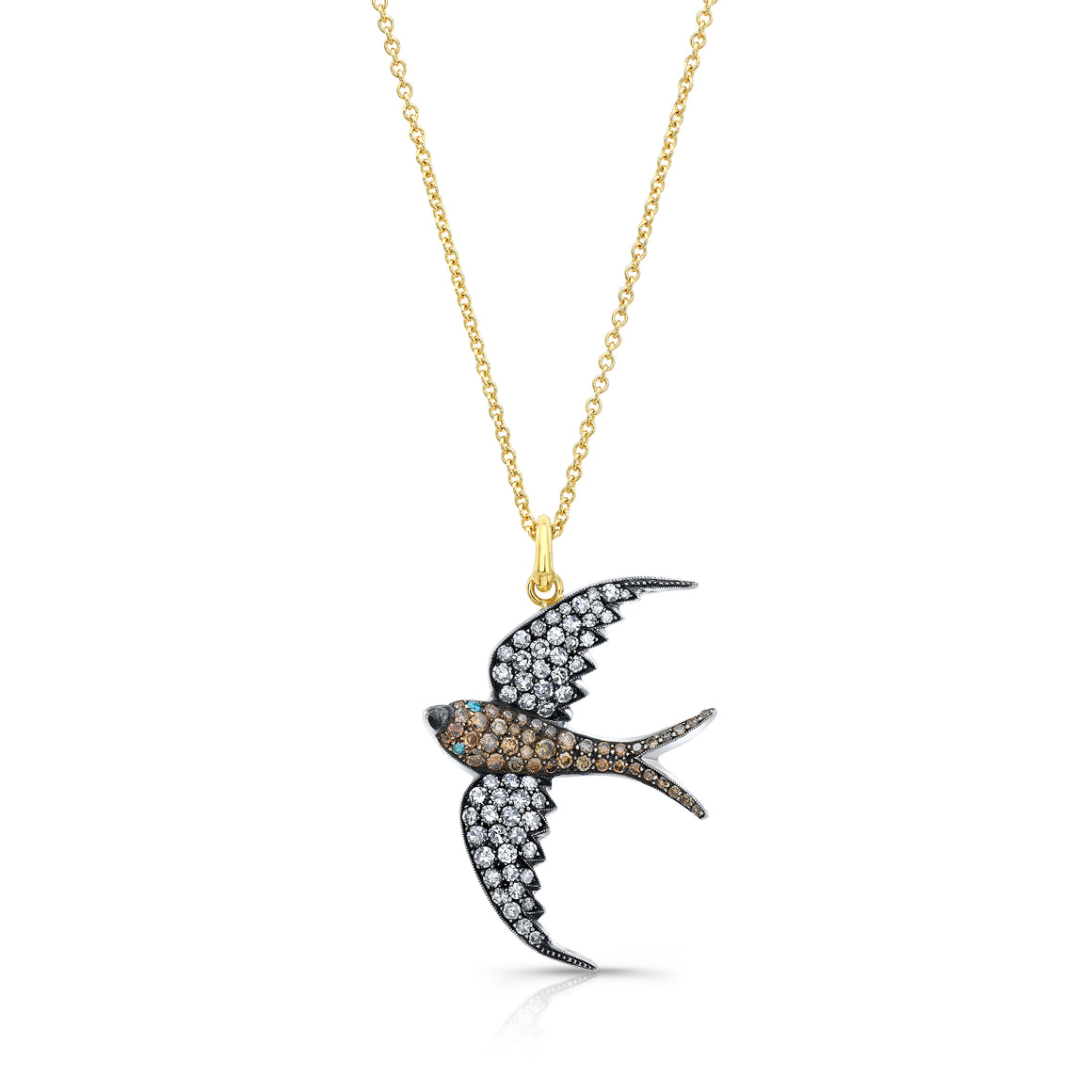 18k Yellow Gold Diamond Sparrow Pendant by Lord Jewelry - Talisman Collection Fine Jewelers
