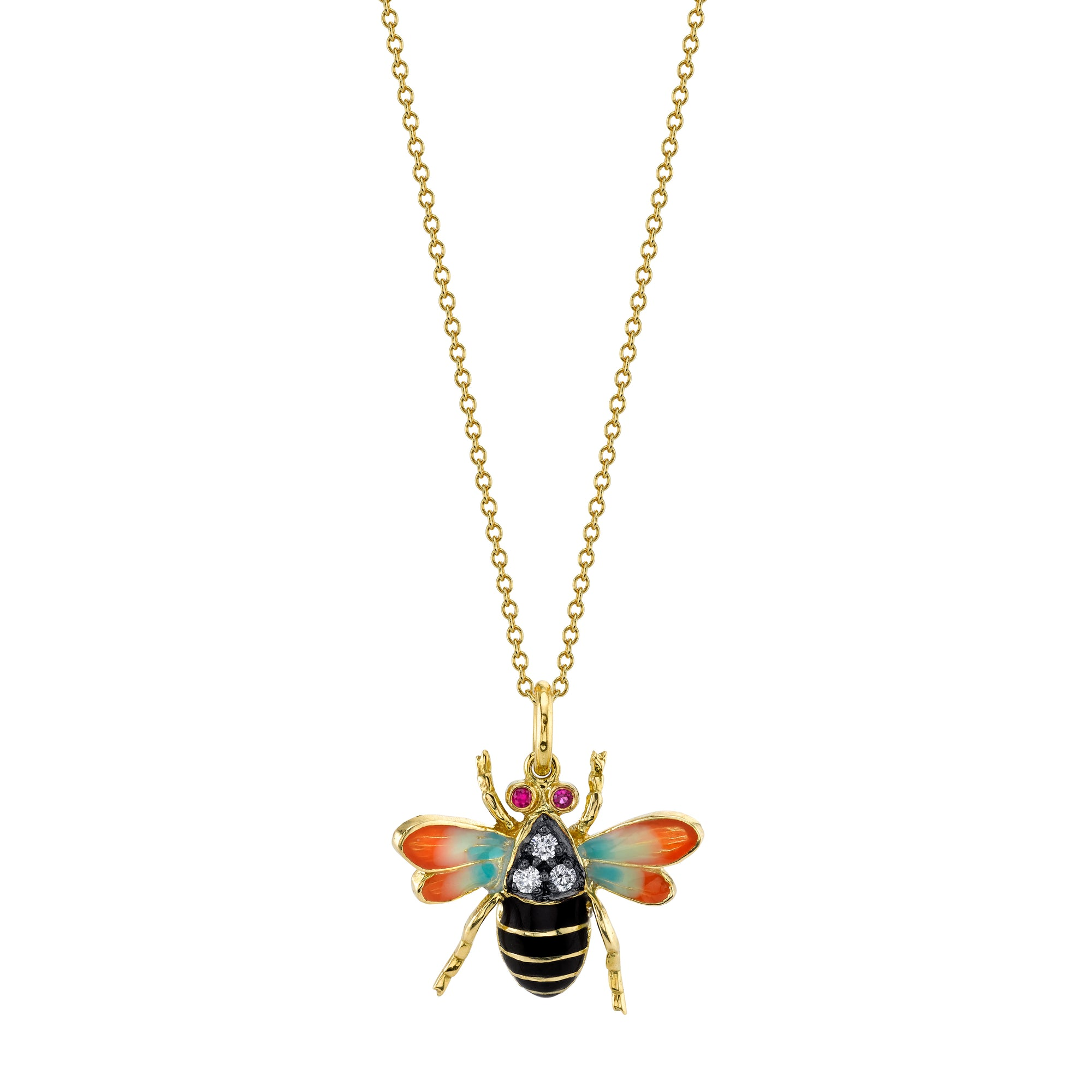 18k Yellow Gold Diamond Bumble Bee Pendant by Lord Jewelry - Talisman Collection Fine Jewelers