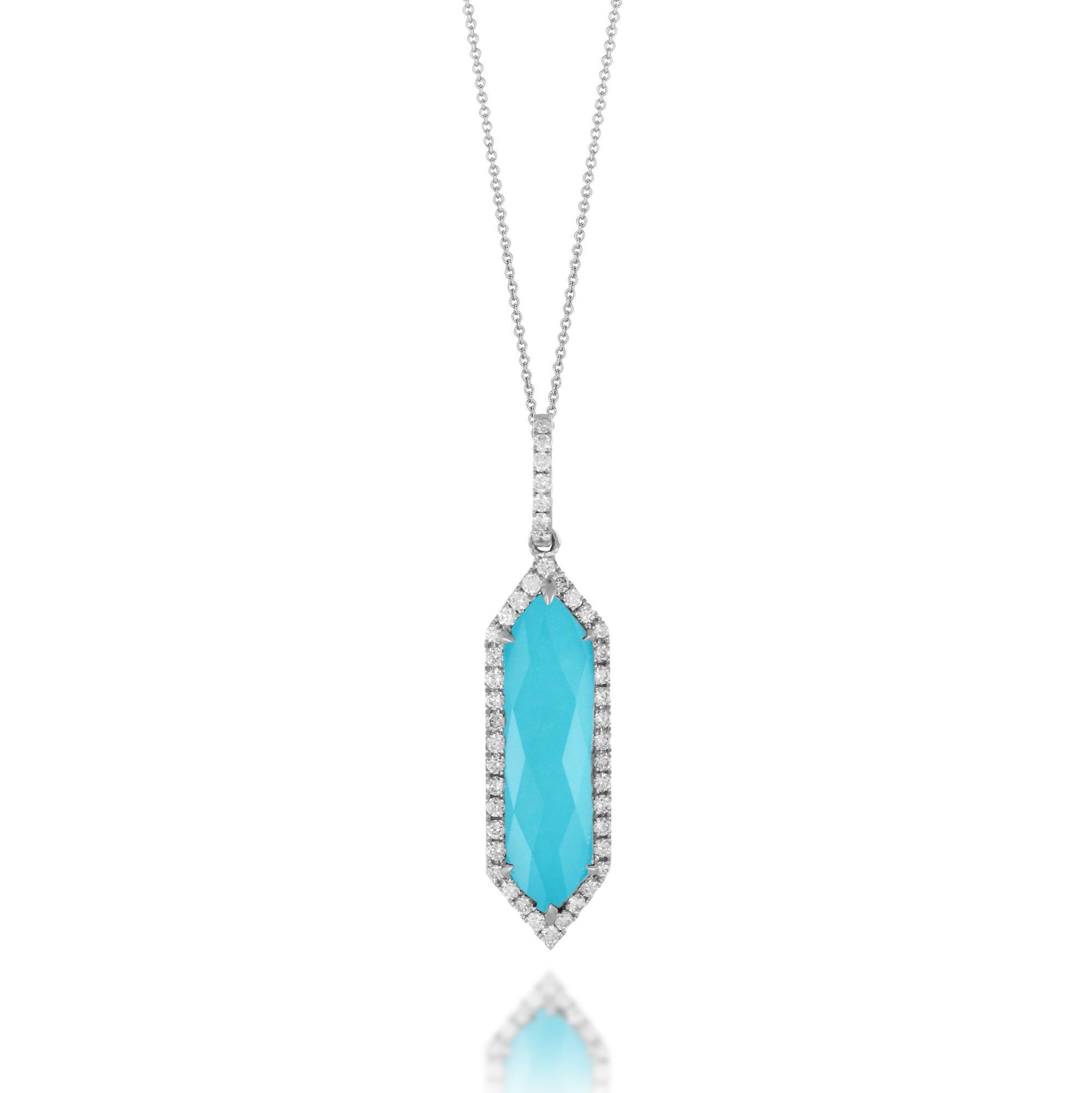 Turquoise and Diamond St. Barths Necklace by Doves - Talisman Collection Fine Jewelers
