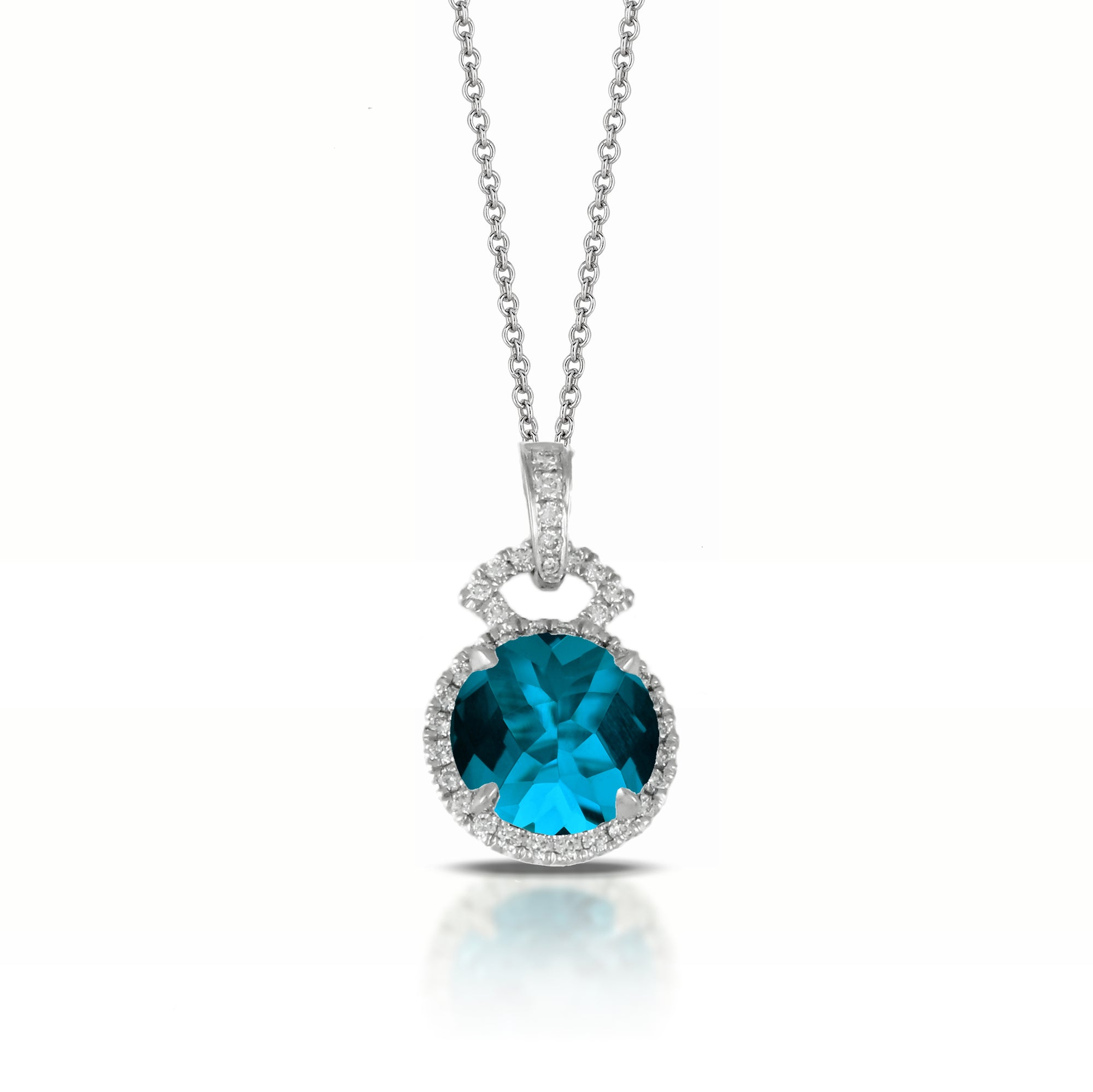 London Blue Topaz and Diamond Necklace by Doves - Talisman Collection Fine Jewelers