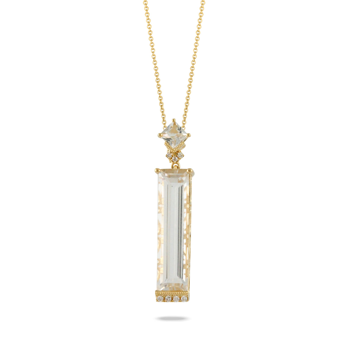 White Topaz and Diamond Geo Necklace by Doves - Talisman Collection Fine Jewelers