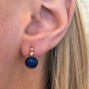 Sodalite and Diamond Drop Earrings in 14k Rose Gold