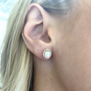 Opal and Diamond Stud Earrings in 14k Rose Gold