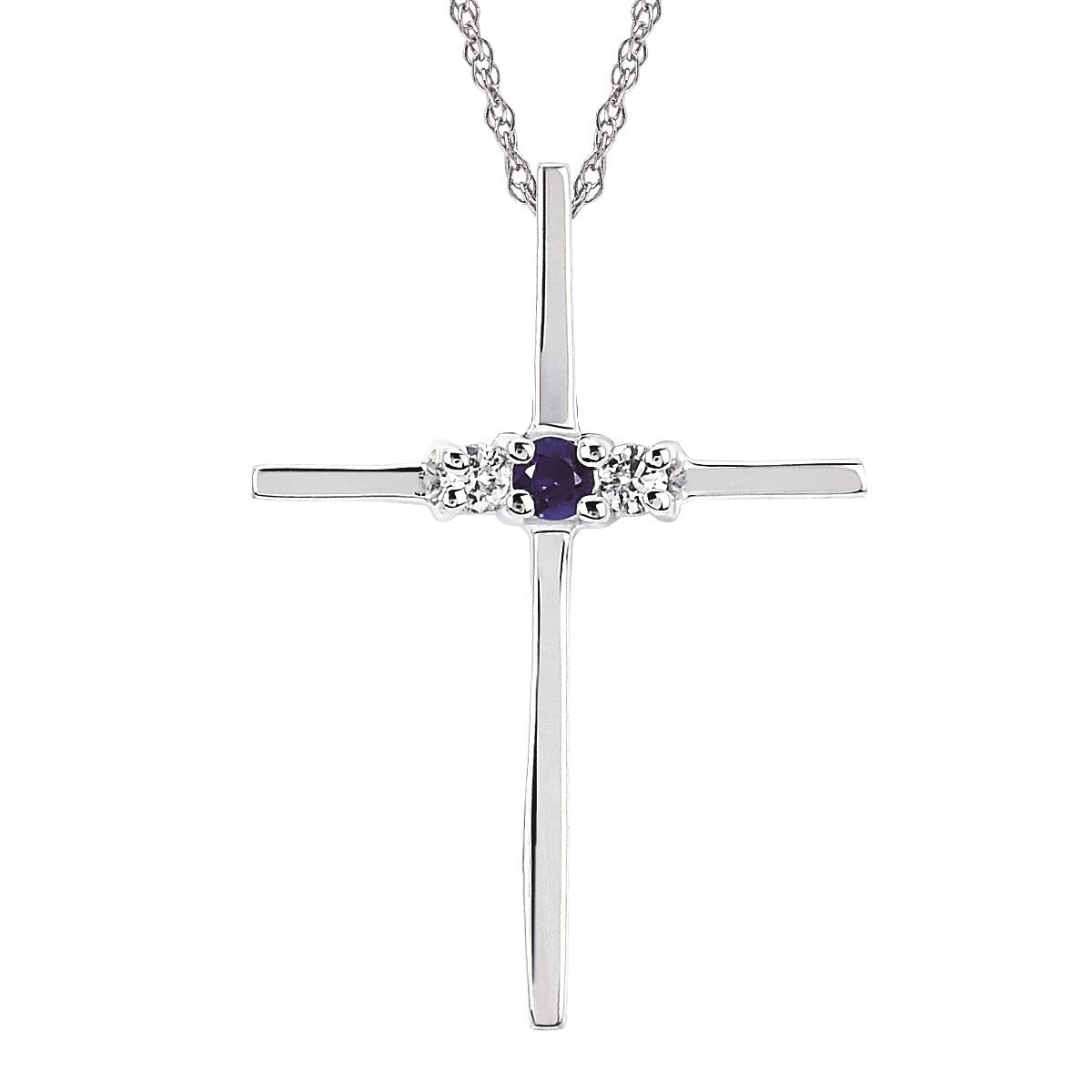 Blue Sapphire and Diamond Cross Necklace - Talisman Collection Fine Jewelers