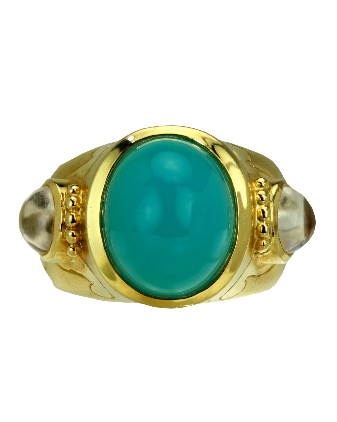 Crevoshay 18k Yellow Gold Cabochon Chrysocolla Ring by Paula Crevoshay - Talisman Collection Fine Jewelers