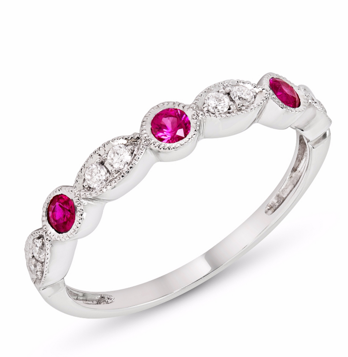 14k Gold Ruby and Diamond Stacking Band