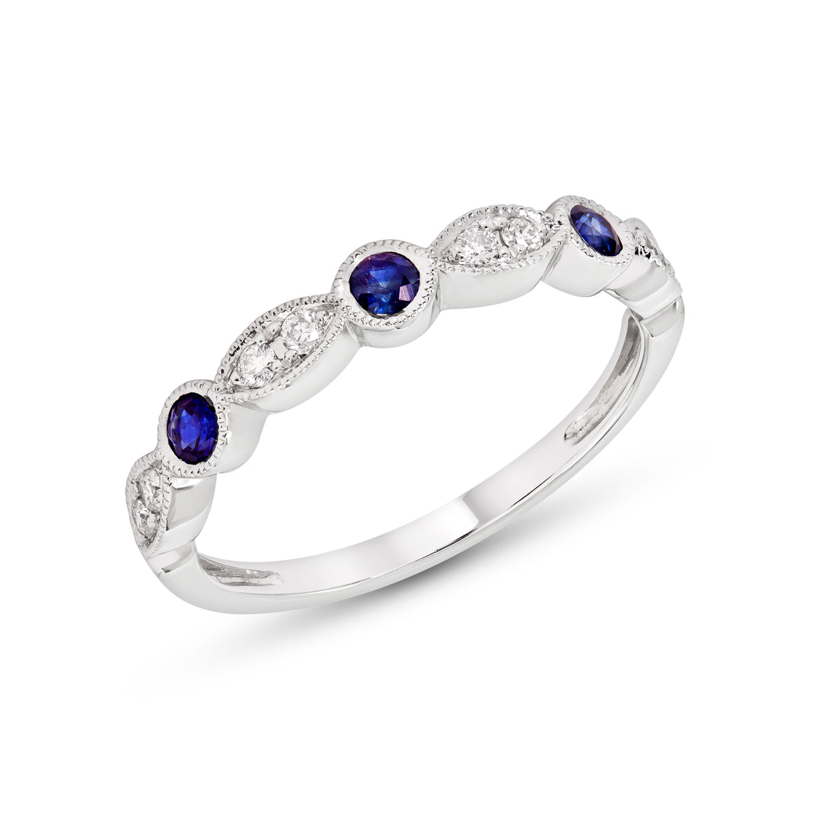 14k Gold Blue Sapphire and Diamond Stacking Band