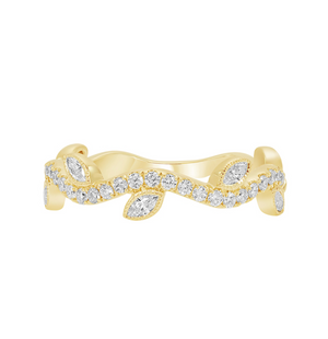 Diamond Vine Stacking Band in White, Yellow or Rose Gold - Talisman Collection Fine Jewelers