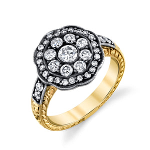 14k Yellow Gold and Diamond Hand Engraved Ring by Lord Jewelry - Talisman Collection Fine Jewelers