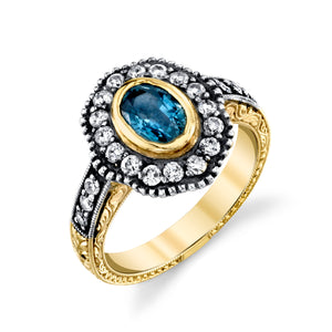 14k Yellow Gold, Sapphire, and Diamond Hand Engraved Ring by Lord Jewelry - Talisman Collection Fine Jewelers