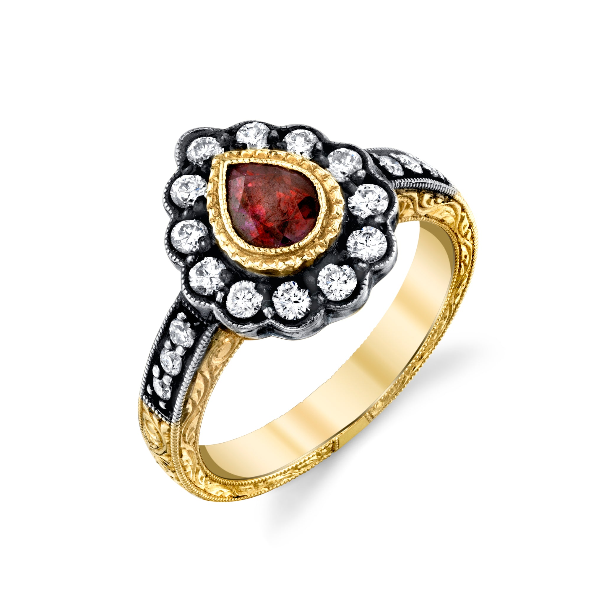 14k Yellow Gold, Ruby, and Diamond Hand Engraved Ring by Lord Jewelry - Talisman Collection Fine Jewelers