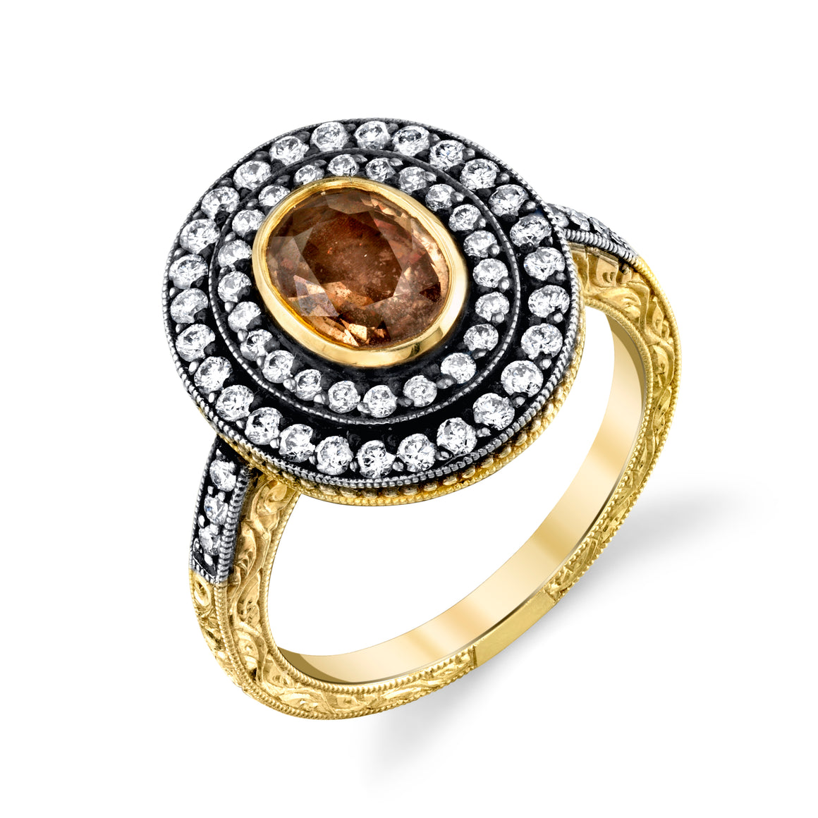 18k Yellow Gold, Brown Sapphire, and Diamond Hand Engraved Ring by Lord Jewelry - Talisman Collection Fine Jewelers