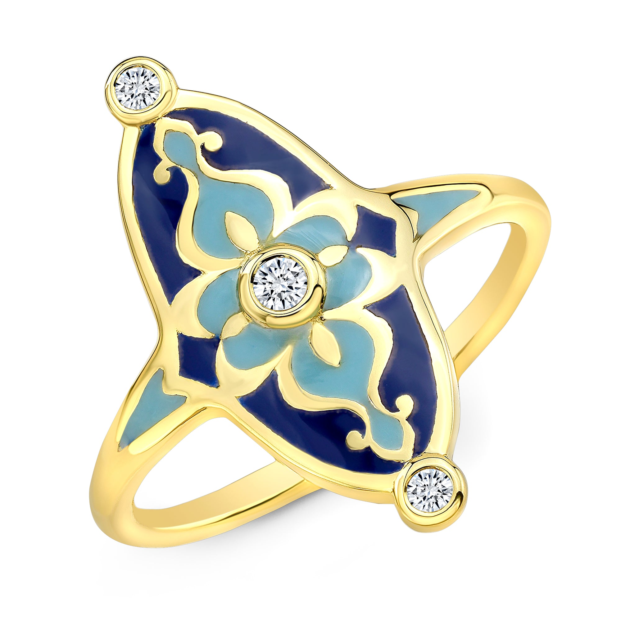 18k Yellow Gold and Blue Enamel Mosaic Diamond Ring by Lord Jewelry - Talisman Collection Fine Jewelers