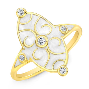 18k Yellow Gold and White Enamel Scroll Diamond Ring by Lord Jewelry - Talisman Collection Fine Jewelers