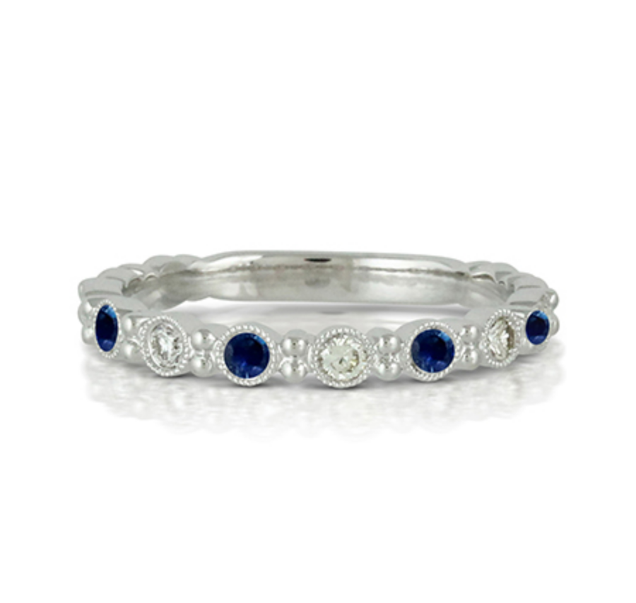 Azure Blue Sapphire and Diamond Stack Ring by Doves - Talisman Collection Fine Jewelers