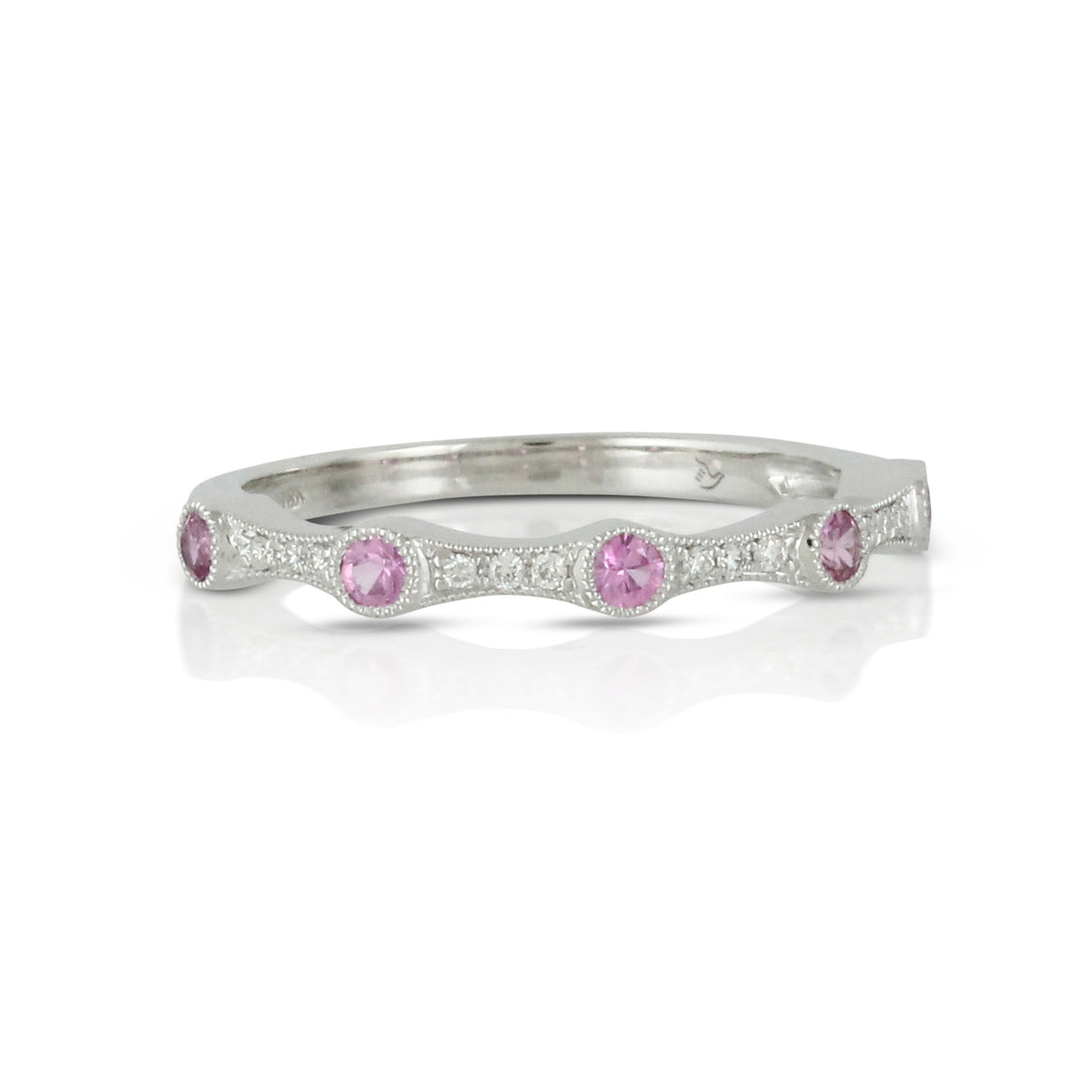 Azure Pink Sapphire and Diamond Stack Ring by Doves - Talisman Collection Fine Jewelers