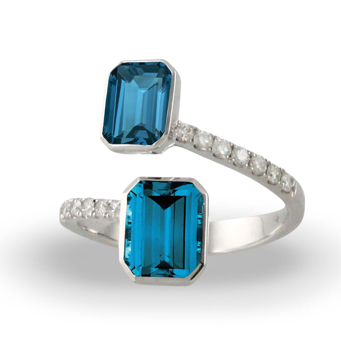 London Blue Topaz and Diamond Bypass Ring by Doves - Talisman Collection Fine Jewelers