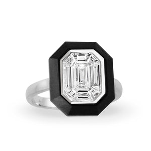 Invisible Set Diamond and Black Onyx Mondrian Ring by Doves - Talisman Collection Fine Jewelers