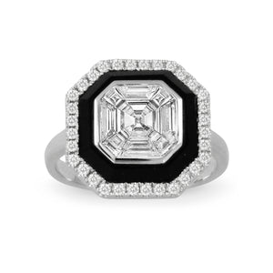 Mondrian Black Onyx and Diamond Ring by Doves - Talisman Collection Fine Jewelers