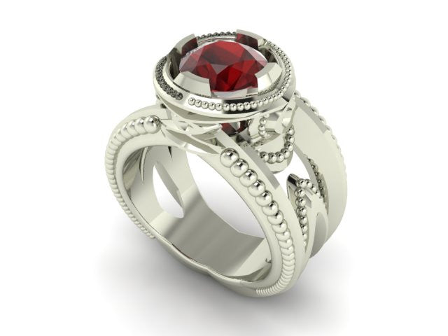 """Water Drop"" Mozambique Garnet Sterling Silver Ring - Talisman Collection"