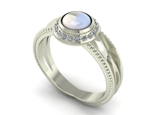"""Water Drop"" 14k White Gold Moonstone Diamond Halo Ring"